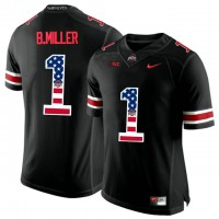 Ohio State Buckeyes #1 Braxton Miller Black USA Flag College Football Limited Jersey