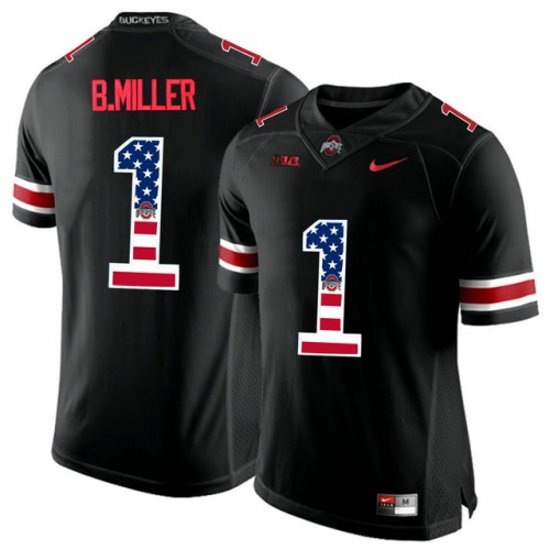 d7b1ad6b6 Ohio State Buckeyes #1 Braxton Miller Black USA Flag College Football  Limited Jersey
