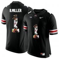 Ohio State Buckeyes #1 Braxton Miller Black With Portrait Print College Football Jersey