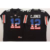 Ohio State Buckeyes #12 C.Jones Black USA Flag College Football Jersey