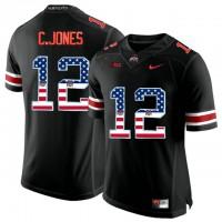 Ohio State Buckeyes #12 C.Jones Black USA Flag College Football Limited Jersey