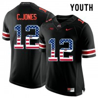 Ohio State Buckeyes #12 C.Jones Blackout USA Flag Youth College Football Limited Jersey
