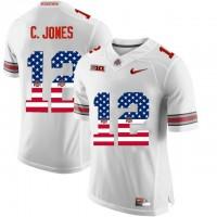 Ohio State Buckeyes #12 C.Jones White USA Flag College Football Limited Jersey