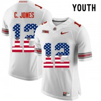 Ohio State Buckeyes #12 C.Jones White USA Flag Youth College Football Limited Jersey