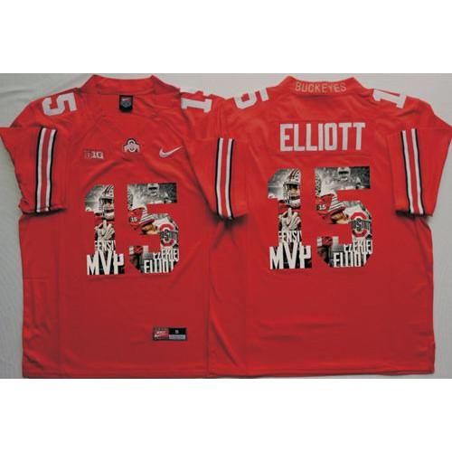 123c2cfe06f Ohio State Buckeyes #15 Ezekiel Elliott Red Player Fashion Stitched NCAA  Jersey