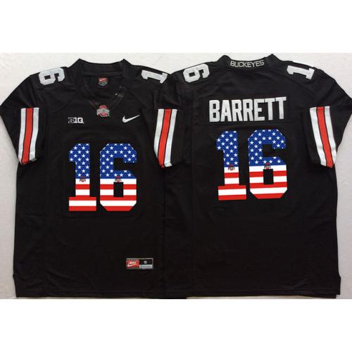 new styles f67b6 c9f07 Ohio State Buckeyes #16 J.T. Barrett Black USA Flag College ...