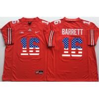 Ohio State Buckeyes #16 J.T. Barrett Red USA Flag College Football Jersey