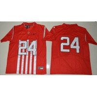 Ohio State Buckeyes #24 Malik Hooker Red 1917 Throwback Limited Stitched NCAA Jersey