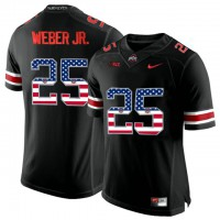 Ohio State Buckeyes #25 Mike Weber Black USA Flag College Football Limited Jersey