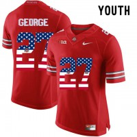 Ohio State Buckeyes #27 Eddie George Red USA Flag Youth College Football Limited Jersey