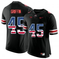 Ohio State Buckeyes #45 Archie Griffin Black USA Flag College Football Limited Jersey