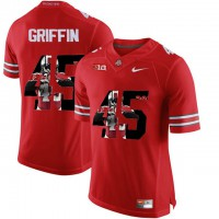 Ohio State Buckeyes #45 Archie Griffin Red With Portrait Print College Football Jersey3
