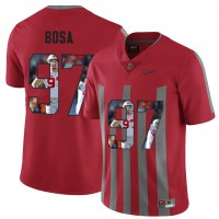 Ohio State Buckeyes #97 Nick Bosa Red With Portrait Print College Football Jersey