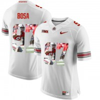 Ohio State Buckeyes #97 Nick Bosa White With Portrait Print College Football Jersey