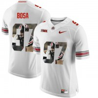 Ohio State Buckeyes #97 Nick Bosa White With Portrait Print College Football Jersey2