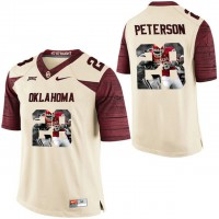 Oklahoma Sooners #28 Adrian Peterson Cream With Portrait Print College Football Jersey