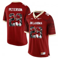 Oklahoma Sooners #28 Adrian Peterson Red With Portrait Print College Football Jersey