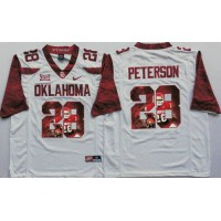Oklahoma Sooners #28 Adrian Peterson White Player Fashion Stitched NCAA Jersey