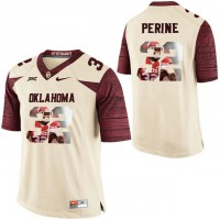 Oklahoma Sooners #32 Samaje Perine Cream With Portrait Print College Football Jersey