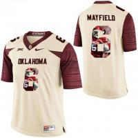 Oklahoma Sooners #6 Baker Mayfield Cream With Portrait Print College Football Jersey