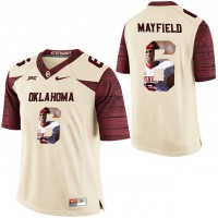 Oklahoma Sooners #6 Baker Mayfield Cream With Portrait Print College Football Jersey2