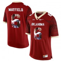 Oklahoma Sooners #6 Baker Mayfield Red With Portrait Print College Football Jersey