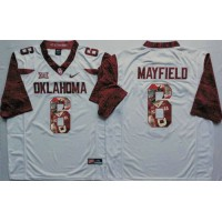 Oklahoma Sooners #6 Baker Mayfield White Player Fashion Stitched NCAA Jersey