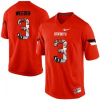 Oklahoma State Cowboys #3 Brandon Weeden Orange With Portrait Print College Football Jersey
