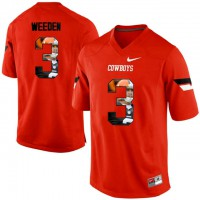 Oklahoma State Cowboys #3 Brandon Weeden Orange With Portrait Print College Football Jersey2
