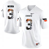 Oklahoma State Cowboys #3 Brandon Weeden White With Portrait Print College Football Jersey
