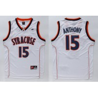 Orange #15 Carmelo Anthnoy White Basketball Stitched NCAA Jersey