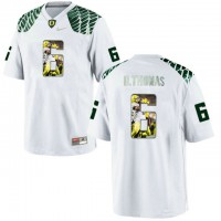Oregon Ducks #6 De'Anthony Thomas White With Portrait Print College Football Jersey