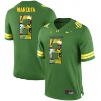 Oregon Ducks #8 Marcus Mariota Apple Green With Portrait Print College Football Jersey2