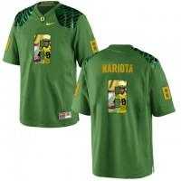 Oregon Ducks #8 Marcus Mariota Apple Green With Portrait Print College Football Jersey3