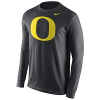 Oregon Ducks Nike Cotton Logo Long Sleeves T-Shirt Anthracite