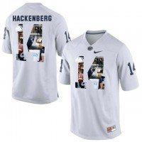 Penn State Nittany Lions #14 Christian Hackenberg White With Portrait Print College Football Jersey