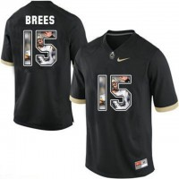 Purdue Boilermakers #15 Drew Brees Black With Portrait Print College Football Jersey