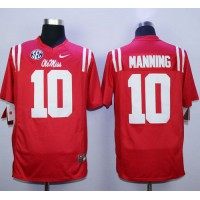 Rebels #10 Eli Manning Red Stitched NCAA Jersey