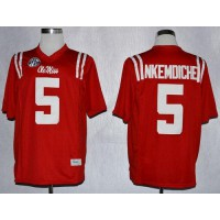Rebels #5 Robert Nkemdiche Red Stitched NCAA Jersey