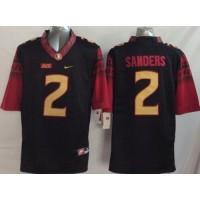 Seminoles #2 Deion Sanders Black Limited Stitched NCAA Limited Jersey