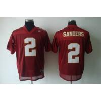 Seminoles #2 Deion Sanders Red Stitched NCAA Jersey