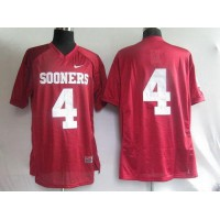 Sooners #4 Red Stitched NCAA Jersey