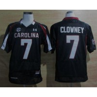 South Carolina #7 Javedeon Clowney Black SEC Patch Stitched NCAA Jersey