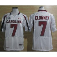 South Carolina #7 Javedeon Clowney White SEC Patch Stitched NCAA Jersey