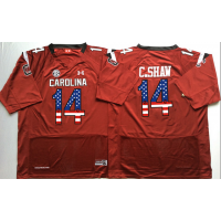South Carolina Gamecocks #14 C.Shaw Red USA Flag College Jersey