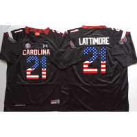 South Carolina Gamecocks #21 Marcus Lattimore Black USA Flag College Jersey