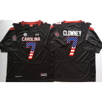 South Carolina Gamecocks #7 Jadeveon Clowney Black USA Flag College Jersey