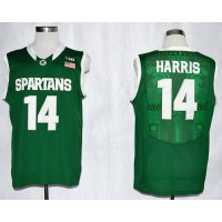 Spartans #14 Gary Harris Green Basketball Stitched NCAA Jersey