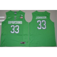 Spartans #33 Magic Johnson Apple Green Authentic Basketball Stitched NCAA Jersey