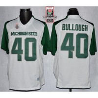 Spartans #40 Max Bullough WhiteGreen 2014 Rose Bowl Patch Stitched NCAA Jersey